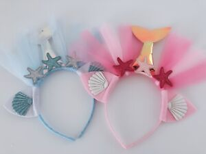 Mermaid-Tail-Lace-Veil-Scale-Shell-Star-Dance-Party-Hair-Head-band-Headband-hoop