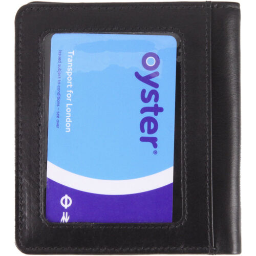 Slim Leather Wallet with ID//Travel Pass// Oyster Card Holder