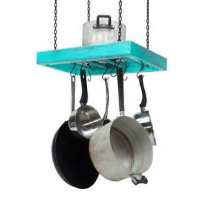 Hanging Pot Rack Wooden Ceiling Mounted Rectangular