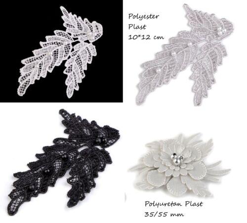 1 Spitzenornament mit Perlen 100*120 mm weiß silber schwarz Spitzenapplikation