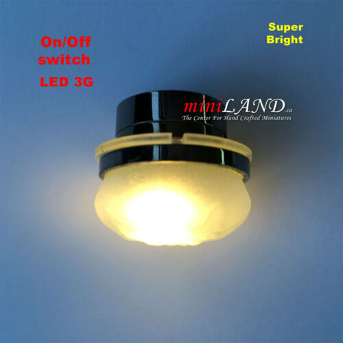 Ceiling  SUPER bright battery operated LED LAMP Dollhouse miniature light BLACK