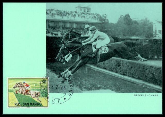 SAN MARINO MK 1966 REITEN REITSPORT PFERD PFERDE HORSE MAXIMUM CARD MC CM am35