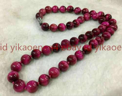 Natural 10mm Rose Red Tiger/'s Eye Gemstone Round Beads Necklace 18/'/' AAA