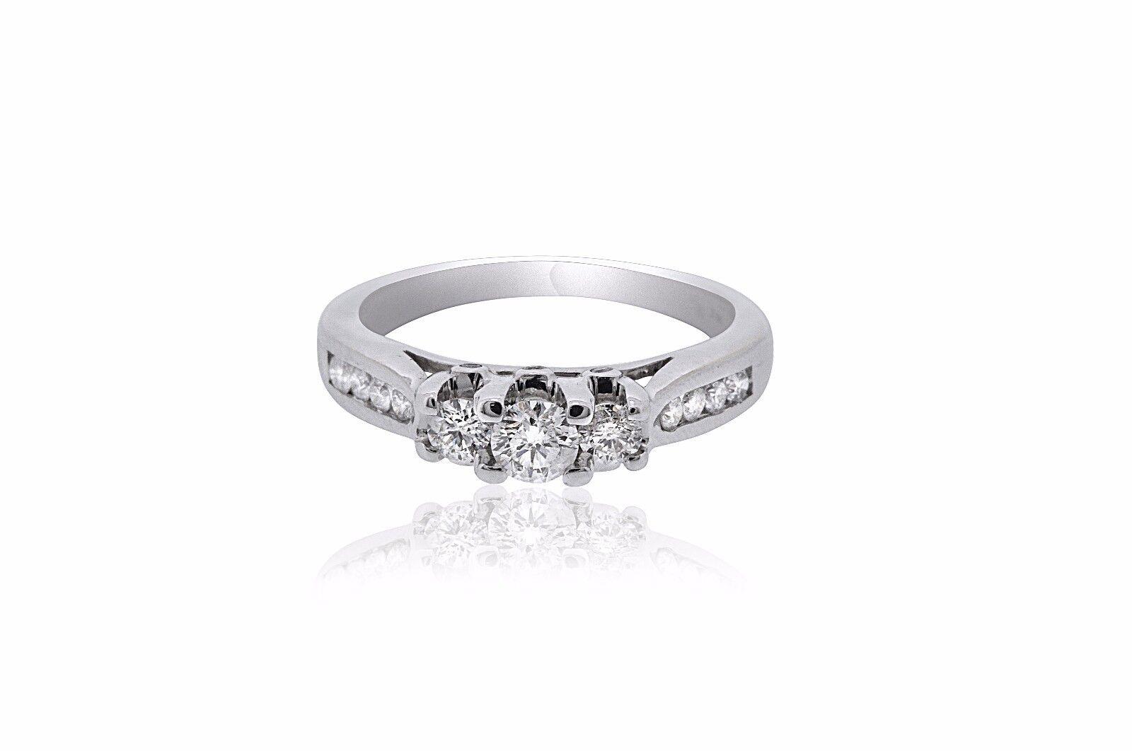 14K White gold 3 Diamond Engagement Ring