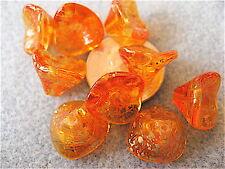 12 Sunshine Dust 3 Petal Czech Glass Flower Beads 12mm