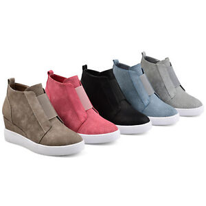 601a351678288 Details about Brinley Co Womens Athleisure Laser cut Side zip Sneaker  Wedges New