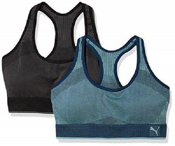 PUMA Performance Sports Bra 2 Pack Active Support Wicking Blue ...