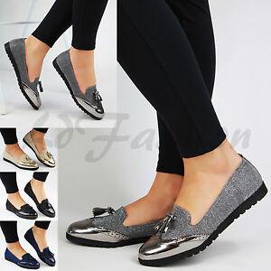 4dab10552fea Image is loading New-Womens-Loafers-Brogue-Ballet-Metallic-Glitter-Tassel-