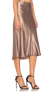 245 NWT VINCE Satin Flare Midi Elastic Waist Coffee  Brown Skirt sz L