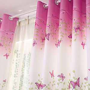 Details about 1Piece Pink Eyelet Butterfly Finished Curtain Bedroom Kids  Window Curtains