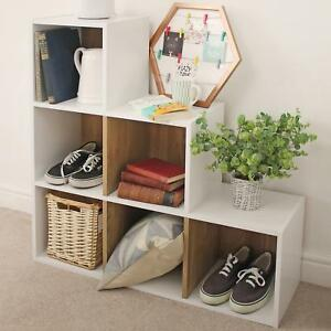 size 40 6a0cd 9920b Details about White Modular 6 Cube Shelving Unit Under Stairs Storage  Shelves Office Bookcase