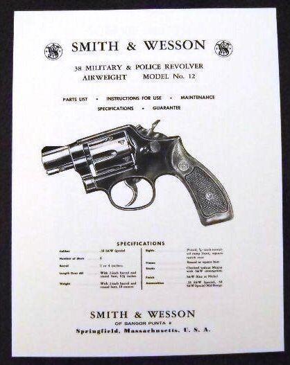 smith wesson 38 cal model 12 revolver manual ebay rh ebay com smith wesson 686 manual smith wesson 686 manual