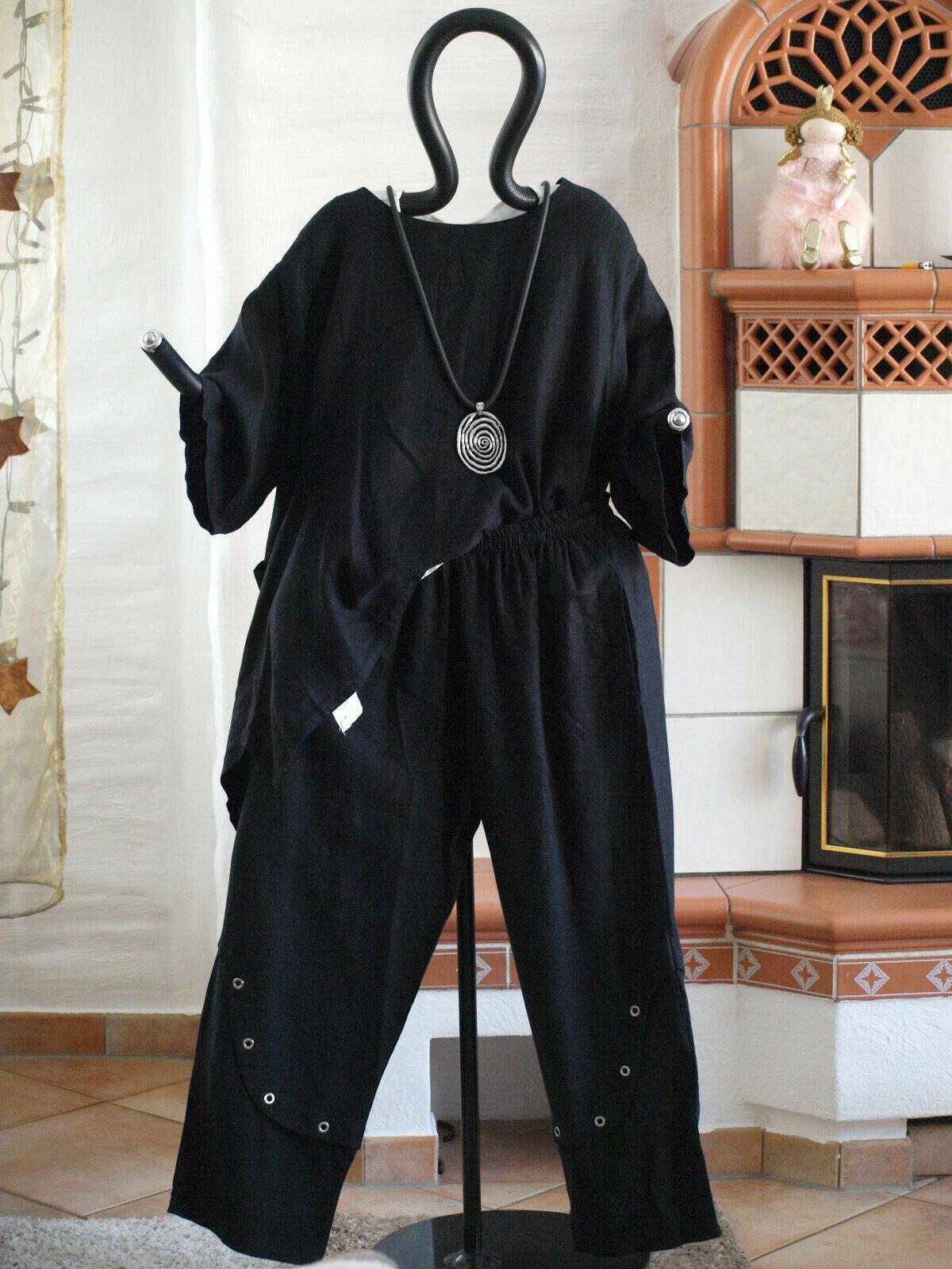 MEXXOO Design Lagenlook Leinen Ballon Hose mit Nieten black XXL 52 54 (9020)