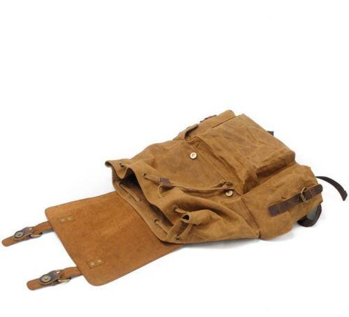 Waterproof Men/'s Canvas+Real Leather Backpack Sport Travel Bag 17'' Laptop Bag