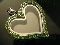 August Peridot Crystal Floating Heart Locket With Free Chain 30mm