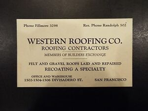 Western roofing co roofing contractors san francisco ca vintage image is loading western roofing co roofing contractors san francisco ca reheart Choice Image