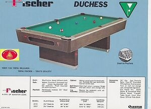 VINTAGE AD SHEET FISCHER BILLIARDS POOL TABLE DUCHESS EBay - Fischer pool table