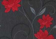 Belgravia - Moda - Black Label - Angelica Wallpaper - Black & Red 1201
