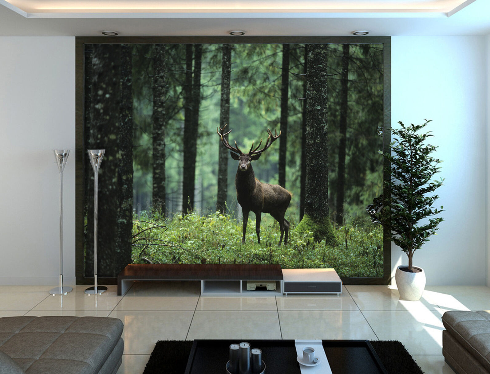 3D deer forest picture Wall Paper Print Decal Wall Deco Indoor wall Mural