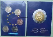 Deutschland 5 x 2 Euro Gedenkmünzen Euromünzen 2012 10 J. Euro-Bargeld Münzkarte