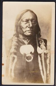 native american indian rppc sioux chief running antelope photograph rh ebay com Indian Mascots and Logos Cherokee Indian Chief Logo