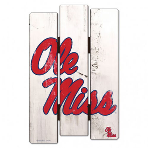 NEW NCAA Ole Miss University of Mississippi Wood Fence Wall Hanging Decor
