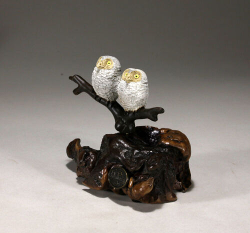 OWL BABIES New direct from JOHN PERRY 6in tall Sculpture Statue Figurine Decor