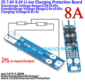 2S 8A 7.4V 8.4V 18650 Li-ion Lithium Battery Charger BMS Protection PCB Board