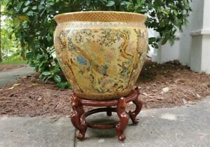 Oriental-Jardiniere-Satsuma-Very-Large-Textured-Planter-Vase-Birds-Fish-Bowl