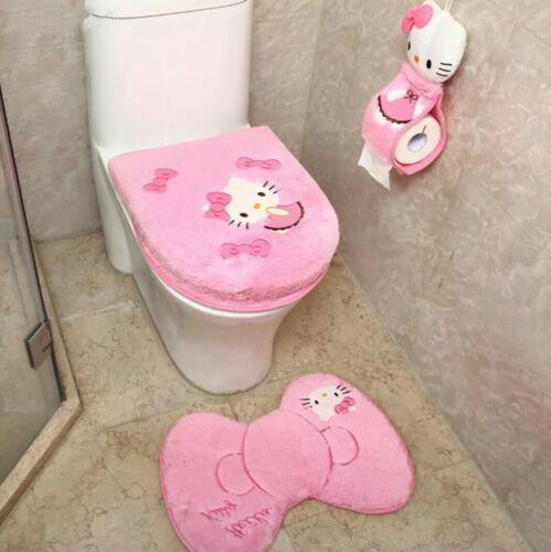 4pcs//set Hello Kitty Toilet Lid//Seat Cover Bath Mat Toilet Paper Roll Holder