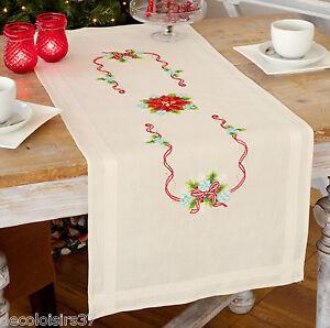 vervaco 0150998 chemin de table poinsettias broderie point de croix imprim ebay. Black Bedroom Furniture Sets. Home Design Ideas