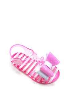 Wonder Nation Toddler Girls Pink Sparkle Jelly with Flower Sandal