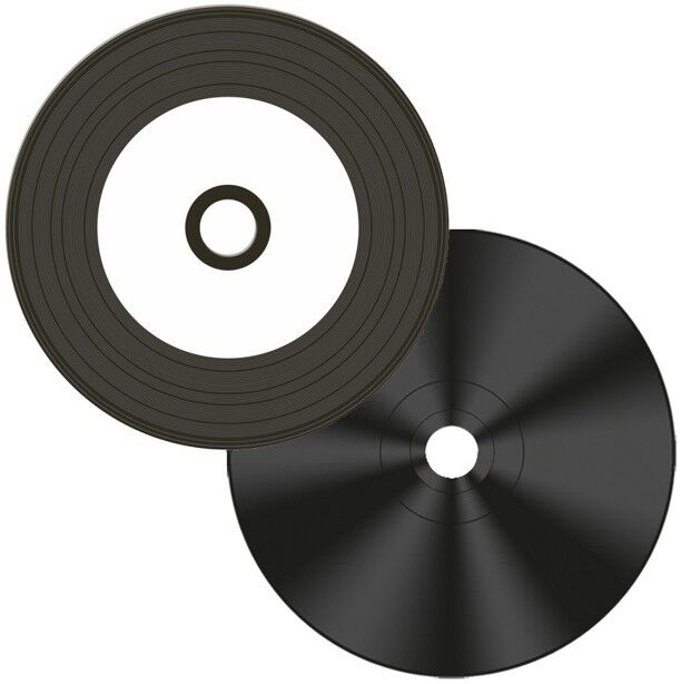 100-Pak Digital-Vinyl =White Inkjet Hub= Diamond Black Record Surface 52X CD-R's