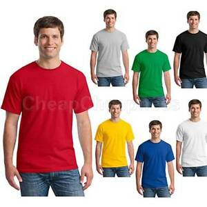 e8c5cb51 Mens T-Shirt Crew Neck Blank Basic Plain TEE Short Sleeve Cotton YF ...