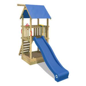 Details zu WICKEY Spielturm Klettergerüst Smart Tale Kinder Holz Rutsche  großer Sandkasten