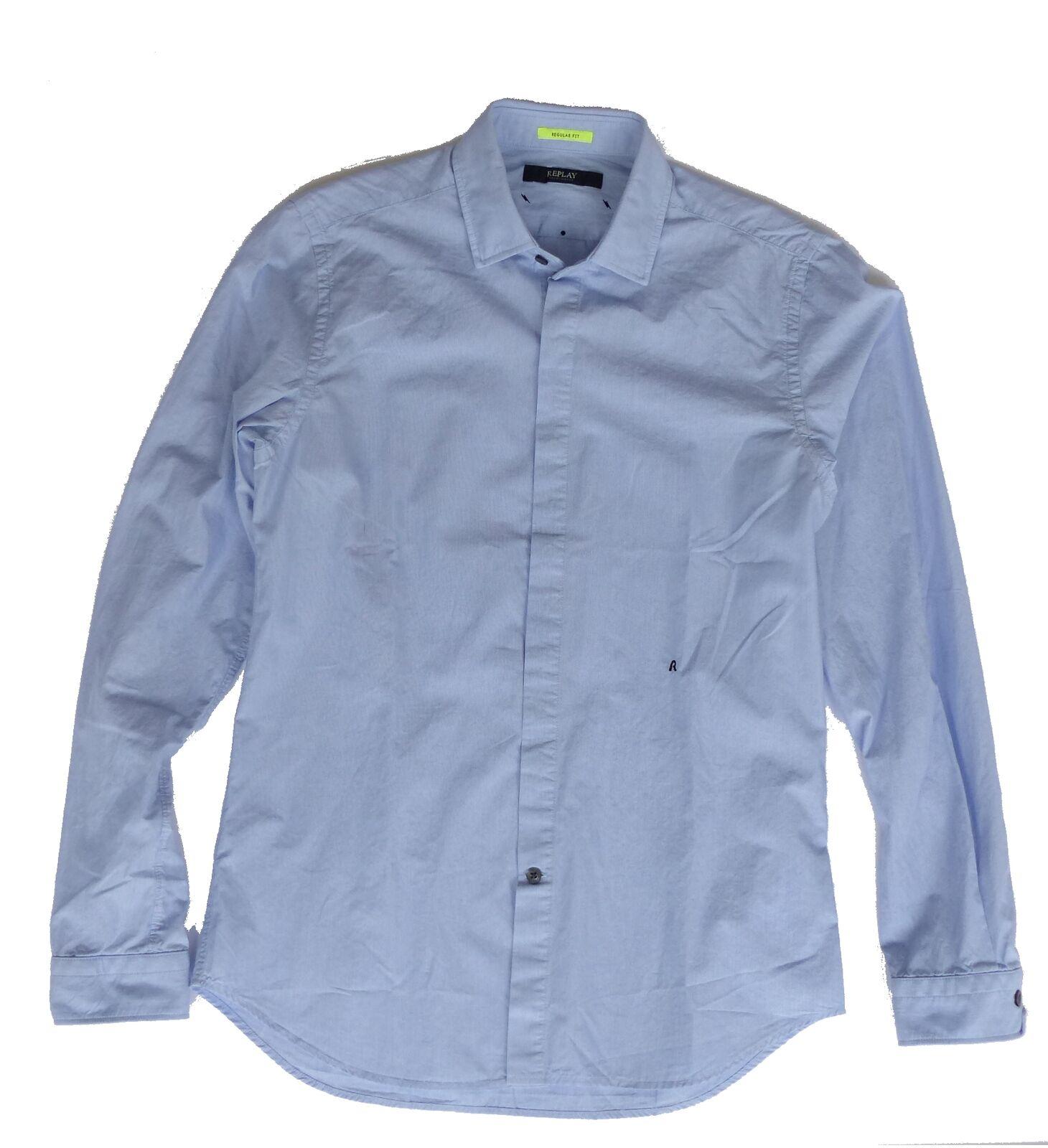 Replay M4921 L S Shirt, Sky bluee