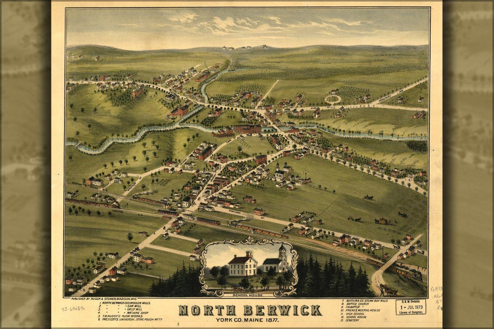 Plakat, Viele Größen; Karte von North Berwick, York Co Maine 1877