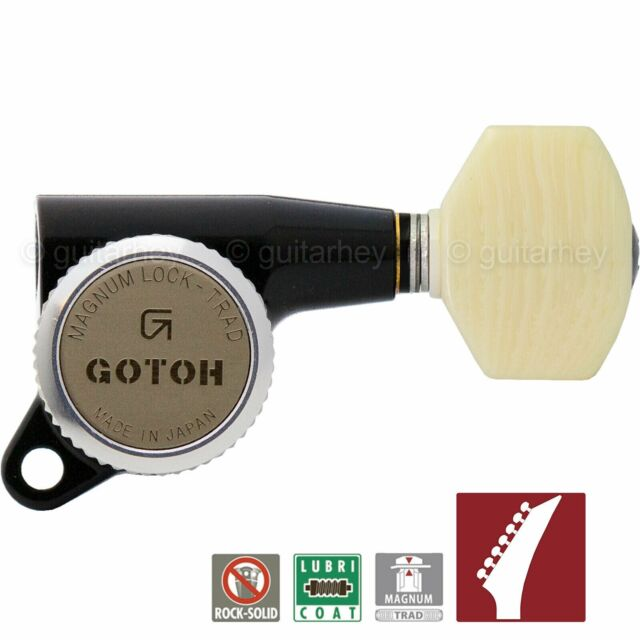 NEW Gotoh SG381 MGT 6 in Line EX LONG Staggered Set Locking Tuners PEARL CHROME