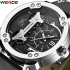 Weide Men's Casual Business Genuine Leather 3 Time Zones 3ATM Quartz Wrist Watch