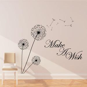 Dandelion-Autocollant-Mural-Art-Decalque-faire-un-voeu-fleur-decor-inspire-w204