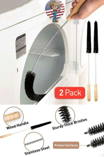 2 Pack Dryer Vent Brush Cleaner Kit Vacuum Attachment Hose Lint Cleaning Brushes