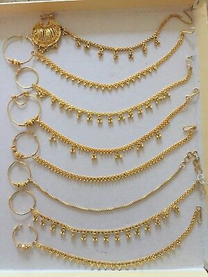 Nose Ring Nath Gold Plated Bridal Indian Jewellery Ebay