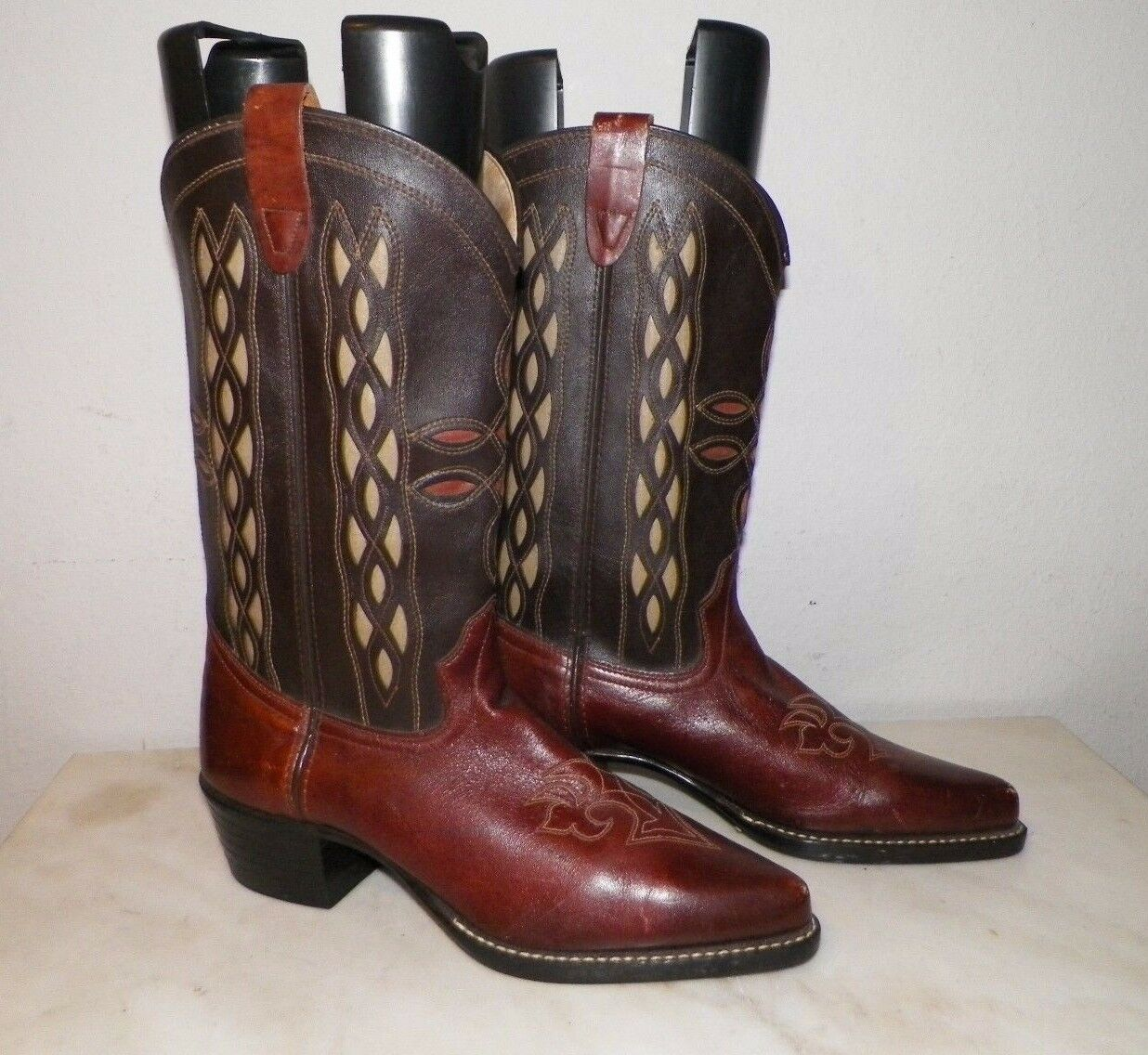 uomo uomo uomo BRONCO FANCY WESTERN COWBOY stivali Marrone SZ 9 D USA MADE cff5c3