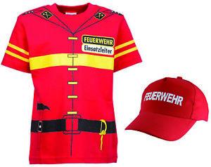 Kinder-Feuerwehr-Uniform-Kostuem-T-shirt-Cap-2er-SET-rot