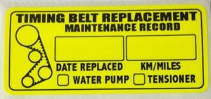 Qty-5-POLYESTER-TIMING-BELT-REPLACEMENT-STICKER-DECAL-LABEL-ONE-LOT-of-5