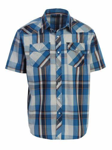 5XL Rodeo Shirt Men/'s Western Plaid Short Sleeve Cowboy Pearl Snap Shirt Size S