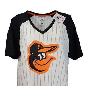 Baltimore-Orioles-MLB-Majestic-Women-039-s-Pinstripe-Raglan-V-Neck-T-Shirt-nwt
