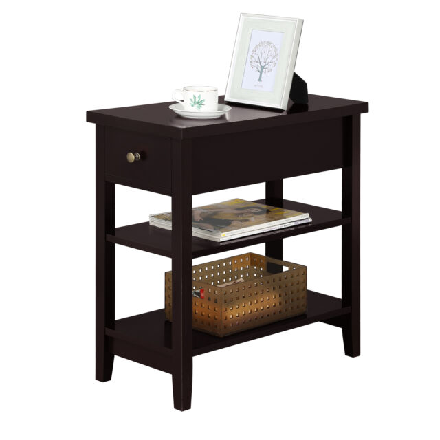 Prime Nightstand Bedside Table Sofa Side End Table With Double Shelf 1 Drawer Espresso Gmtry Best Dining Table And Chair Ideas Images Gmtryco