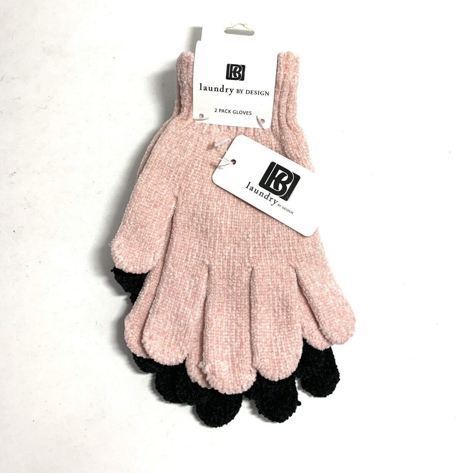 2 Pk Womens Winter Glove Set Pink & Black One Size Laundry by Design NEW