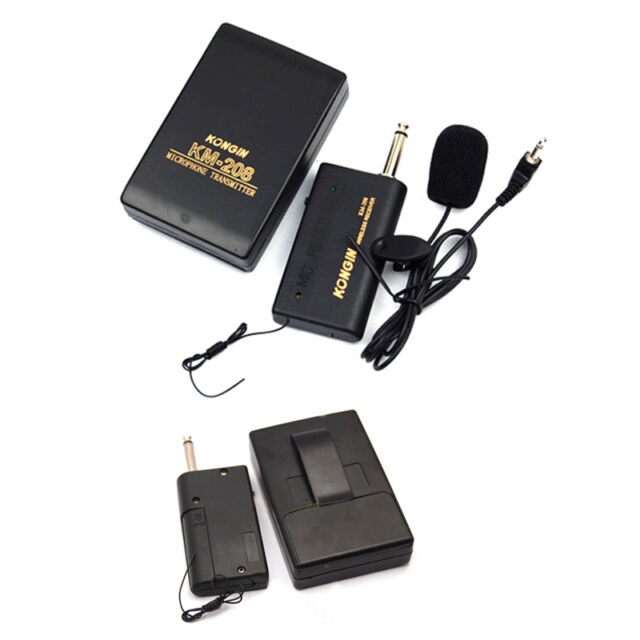 Wireless Mic System Lavalier Lapel Clip Microphone FM Transmitter Receiver